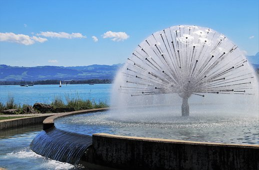 Fountain, Lake, In The Park, Welcome, Beach, Relaxation