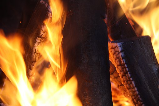 Bonfire, Fire, Flames, Log, Wood, Camping