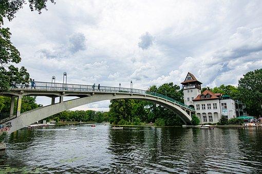 Berlin, Bridge, Spree, River, Water, Treptower Park