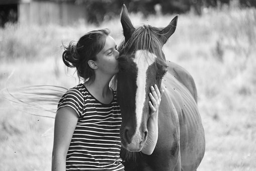 Girl With Her Horse, Black And White Photo, Feelings