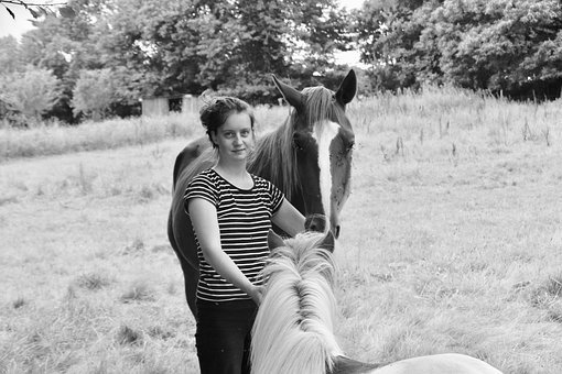 Girl, Shetland Horse And Pony, Black And White Photos