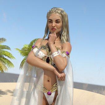 Woman, Model, Blonde, Long Hair, Female, Swim Suit