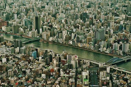 City, Bridge, Japan, Urban, Modern, Cityscape, Top View