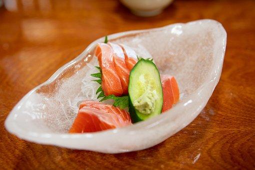 Meal, Dish, Plate, Table, Salmon, Cucumber, Hokkaido