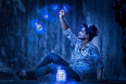 Man, Catch, Glowing Butterfly, Glow, Light, Night
