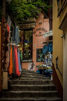 Hallway, Stairs, Shops, Stores, City
