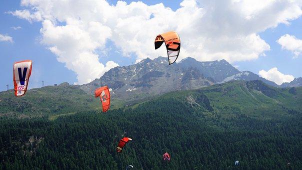 Wind Surfing, Mountains, Lake Sils, Graubünden
