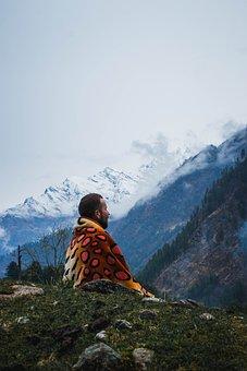 Man, Traveler, Mounatins, Trekking, Snow, Hills, Forest