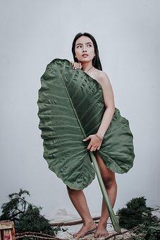 Woman, Leaf, Model, Body, Pose, Looking Away, Female