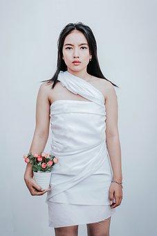 Woman, Model, Flowers, Pot, Pose, Dress, White
