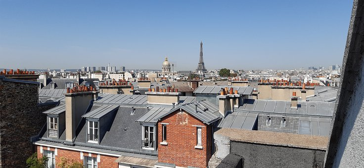 Paris, Eiffel Tower, Roofs, Panorama, Houses, Buildings
