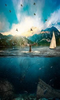 Mountains, Whale, Sea, Birds, Boat, Sailboat