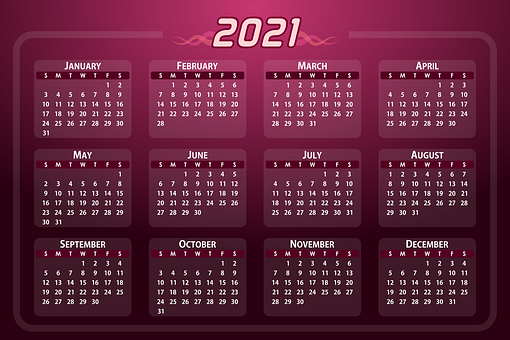 Calendar, Date, 2021, Days, Weeks, Months, Year, Daily