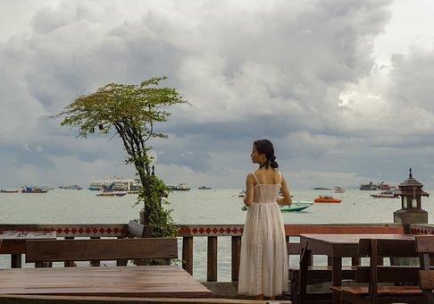 Woman, Dress, Sea, Fashion, Tree, Water, Sky, Clouds
