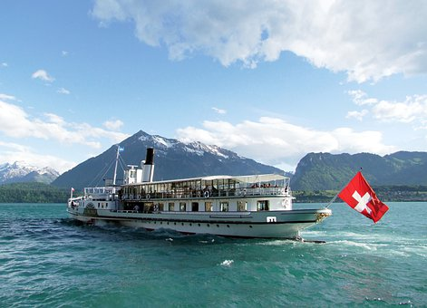 Ship, Lake, Mountains, Water, Travel, Tour, Alps
