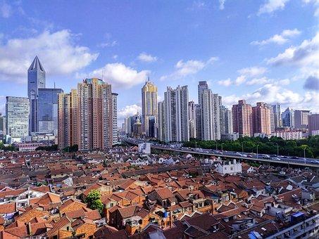 City, Buildings, Skycrapers, Houses, Road, Highway