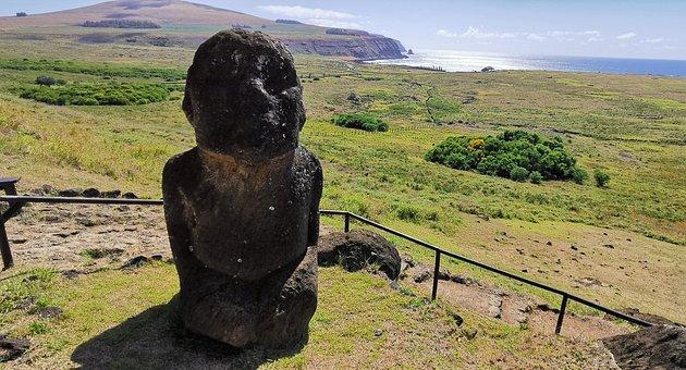 Statue, Bust, Field, Pasture, Coast, Sea, Sacred