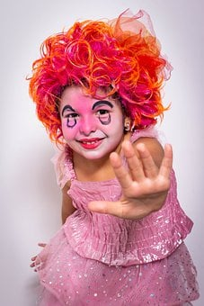 Girl, Childhood, Costume, Circus, Cute, Clown, Funny