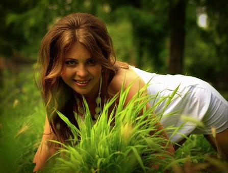 Woman, Model, Grass, Girl, Dress, Hairstyle, Smile