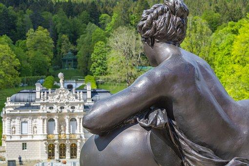 Sculpture, Woman, Figure, Palace, Castle, Architecture