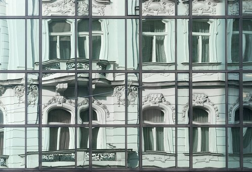 Reflection, Building, Prague, Green, History