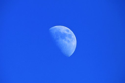 Sky, Moon, Night, Half Moon, Ascending, Astronomy