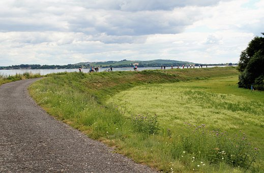 Path, Field, Lake, Grass, Pasture, Hills, People
