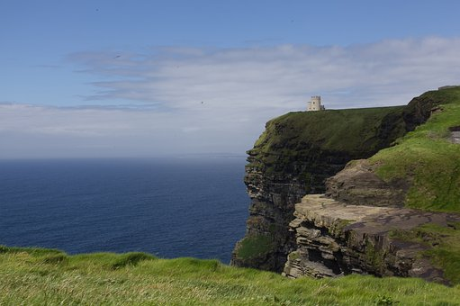 Cliff, Lighthouse, Ocean, Pasture, Grass, Landscape