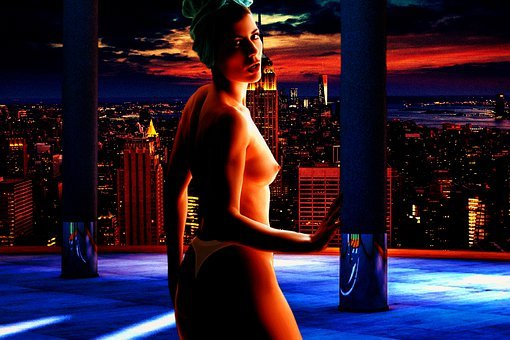 Woman, Model, Nude, Body, City, Buildings, Composition