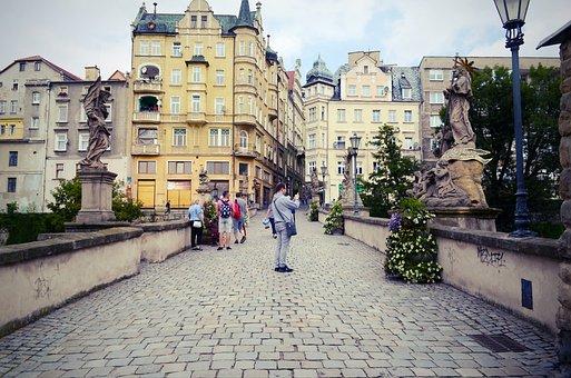 Cityscape, Buildings, Sculptures, Monuments, Pavement
