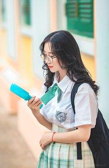 Student, Female, School, Uniform, Glasses, Backpack