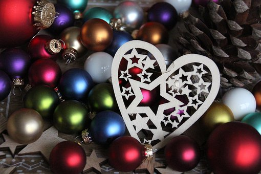 Christmas, Heart, Star, Balls, Christbaumkugeln
