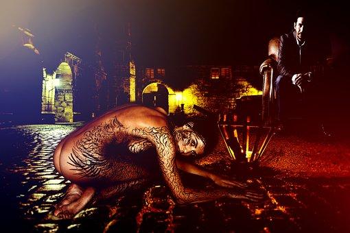 Woman, Model, Nude, Body, Tattoo, Street, Pavement, Man