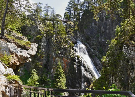 Mountains, Waterfall, Alpine, Maritime Alps, Landscape