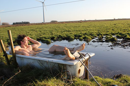 Man, Model, Bath, Baden, Outdoors, Young, Field