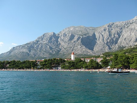 Mountains, Sea, Boat, Coast, Trees, Buildings
