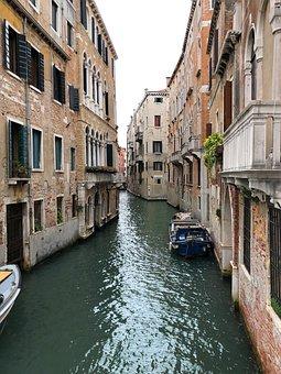 Canal, Houses, Windows, Balcony, Gondola, Buildings