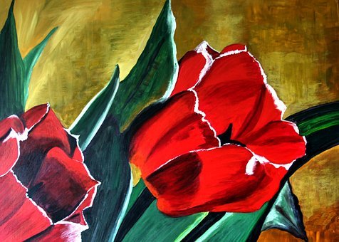 Painted Flower, Bold And Bright, Acrylic Paint, Canvas