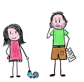 Cartoon, Daughter And Father, Distraction, Girl