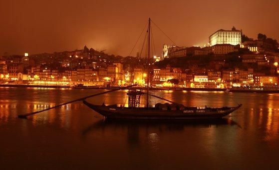 Sailing Boat, River, Coast, City Lights, Night Lights