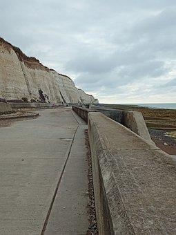 Pathway, Fence, Cliff, Bike Path, Rocks, Horizon, Coast