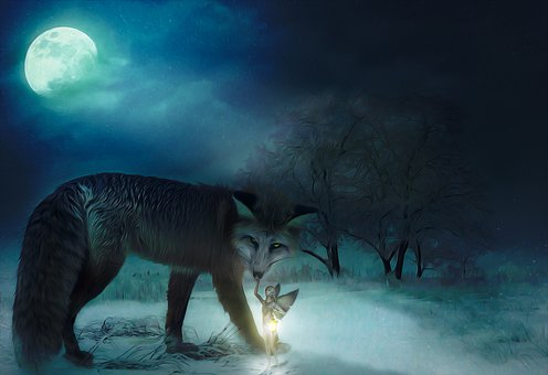 Fox, Animal, Elf, Fairy, Friendship, Moon, Night