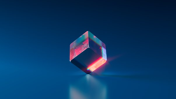 Blue, Crystal, Cube, Deep, Futuristic, Gem, Glass