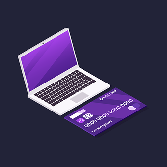 Laptop, Credit Card, Infographic, 3d, Ecommerce
