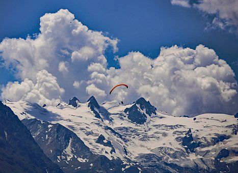 Mountains, Snow, Glacier, Rocks, Paraglider