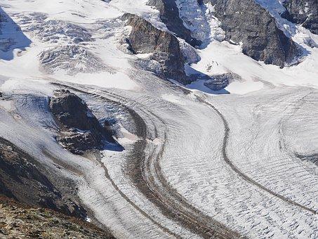 Ice Flow, Glacier, Mountain, Rock, Pers Glacier