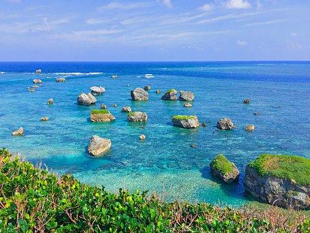 Sea, Coral Reefs, Rocks, Horizon, Blue, Sun, Wave, Asia