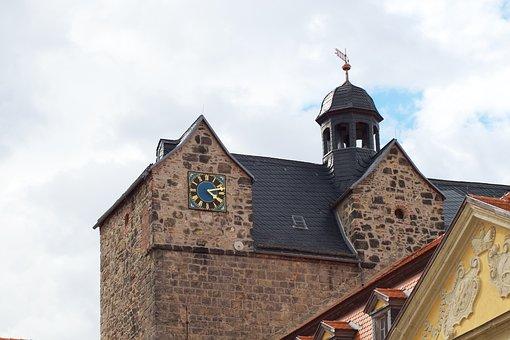 Castle, Tower, Dome, Clock, Building, Ballenstedt