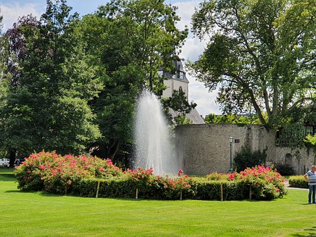 Park, Fountain, Castle, Flowers, Trees, Leaves, Foliage