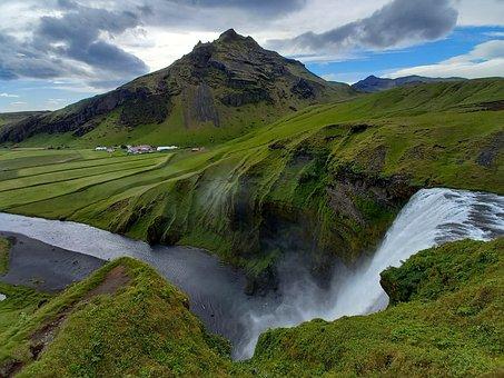Iceland, Moss, Waterfall, Waters